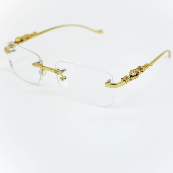 2ed0205578aa Cartier Accessories - CARTIER Gold Metal   Panther Fashion Glasses ...